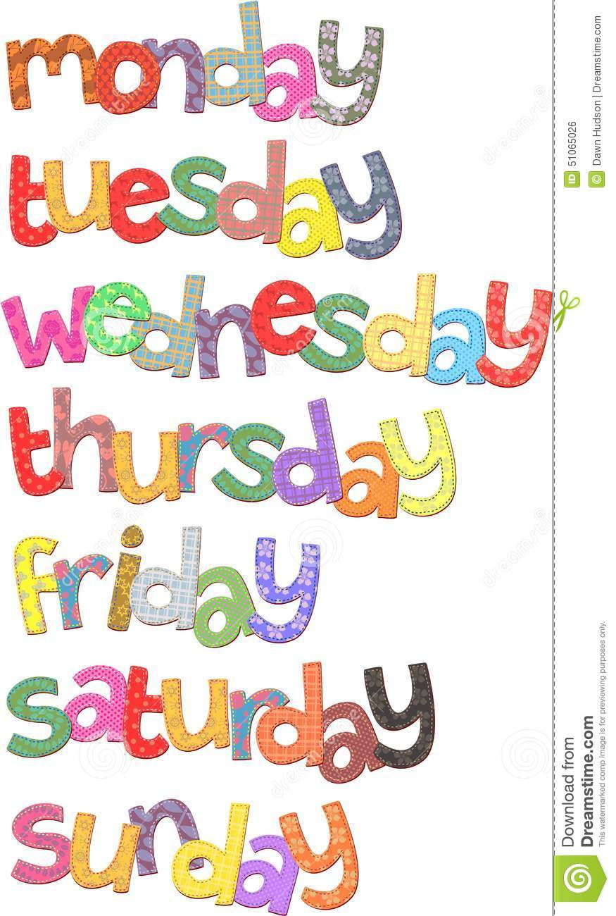 Days Of The Week Text Clip Art Resembling Fabric With Stitching
