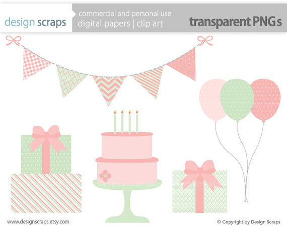 Girls Birthday Clipart Clip Art Digital Graphics Pink Mint Bunting