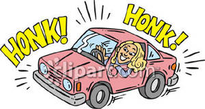 Honking Her Horn While Driving Her Car Royalty Free Clipart Picture