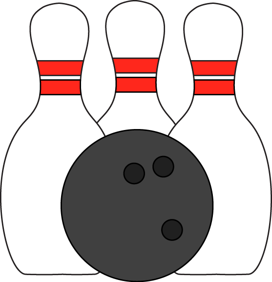 Pins And Ball Clip Art Image   Three Bowling Pins With A Bowling Ball