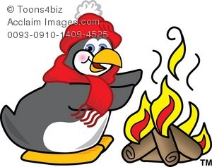 Art Prints   Poster Print Of Clipart Cartoon Penguin At A Campfire