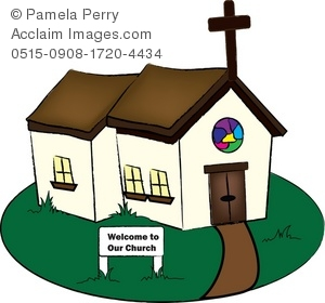 Clip Art Illustration Of A Little Country Church   Acclaim Stock