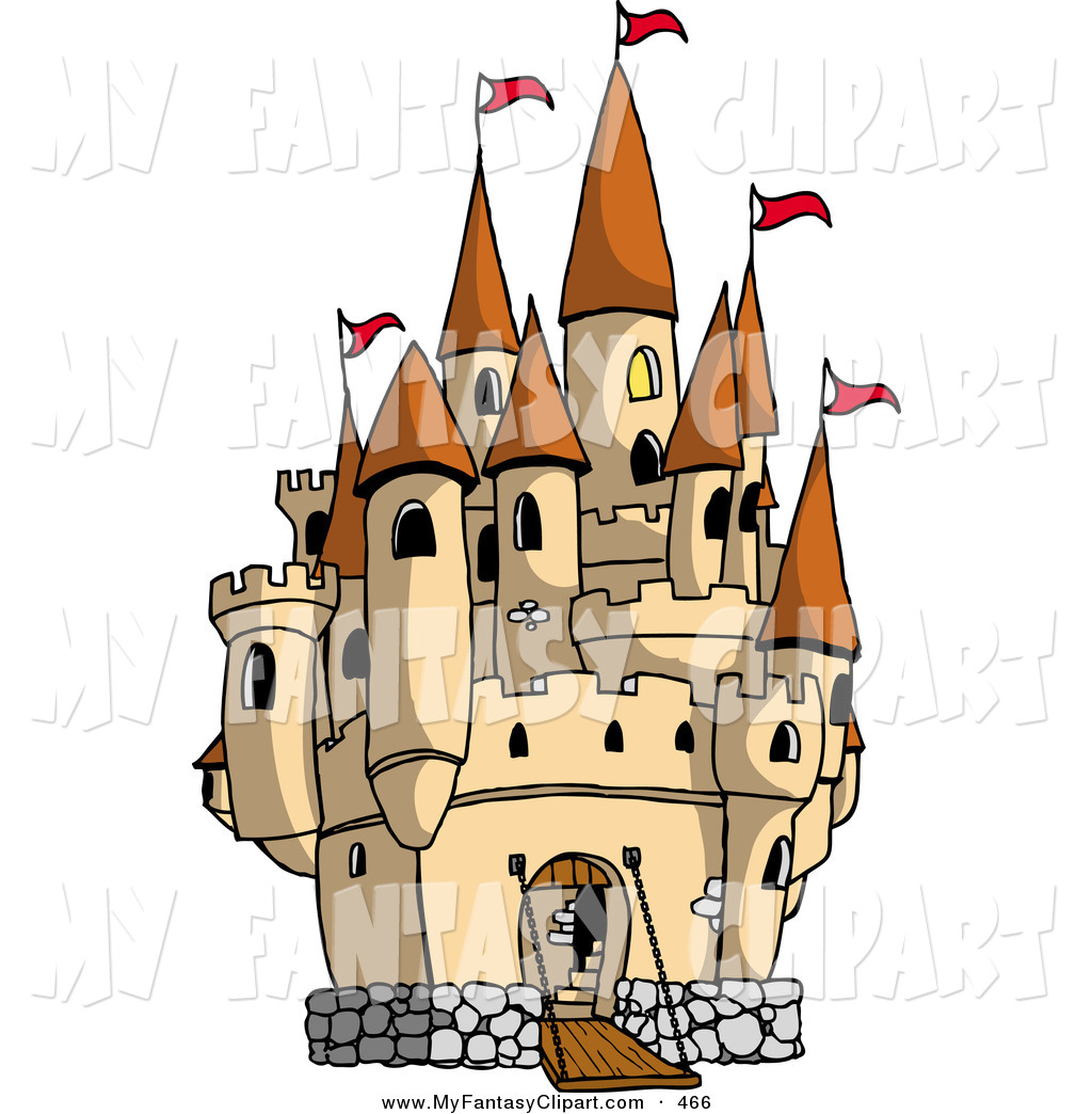 Clip Art Of A Large Medieval Castle With The Gate Down For Visiters