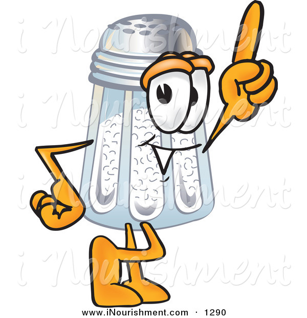 Clipart Of A Cute Salt Shaker Mascot Cartoon Character Pointing