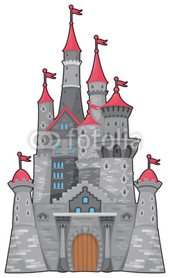 Medieval And Fantasy Castle  Cartoon Vector Isolated Object Stok