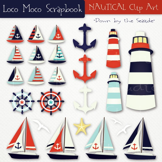 Nautical Clip Art Down By The Seaside By Locomocostudio On Etsy