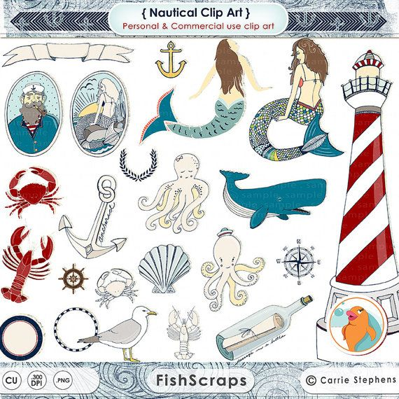 Nautical Clip Art   Mermaid Clipart   Summer Beach Digital Graphics By
