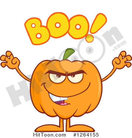 Scary Pumpkin Character With Boo Text  1264155