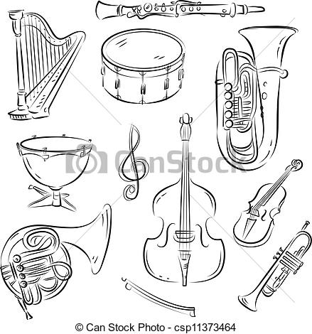 Vector   Symphony Orchestra Set   Stock Illustration Royalty Free