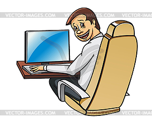 Young Manager In Office   Color Vector Clipart