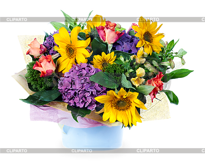 3873728 Colorful Floral Bouquet Of Roses Lilies Sunflower Jpg