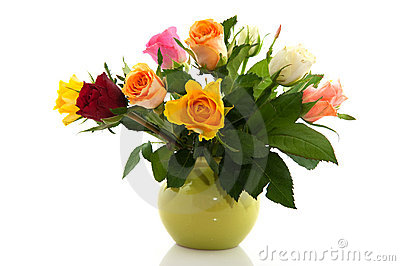 Bouquet Colorful Roses In Green Vase And White Background