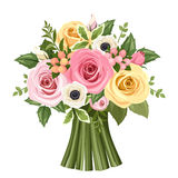 Bouquet Of Colorful Roses And Anemone Flowers  Vector Illustration