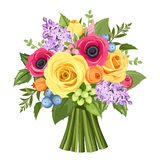 Bouquet Of Colorful Roses Anemones And Lilac Flowers  Vector