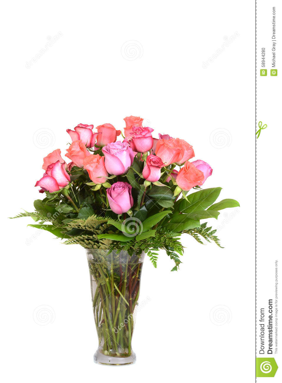 Bouquet Of Colorful Roses With White Background