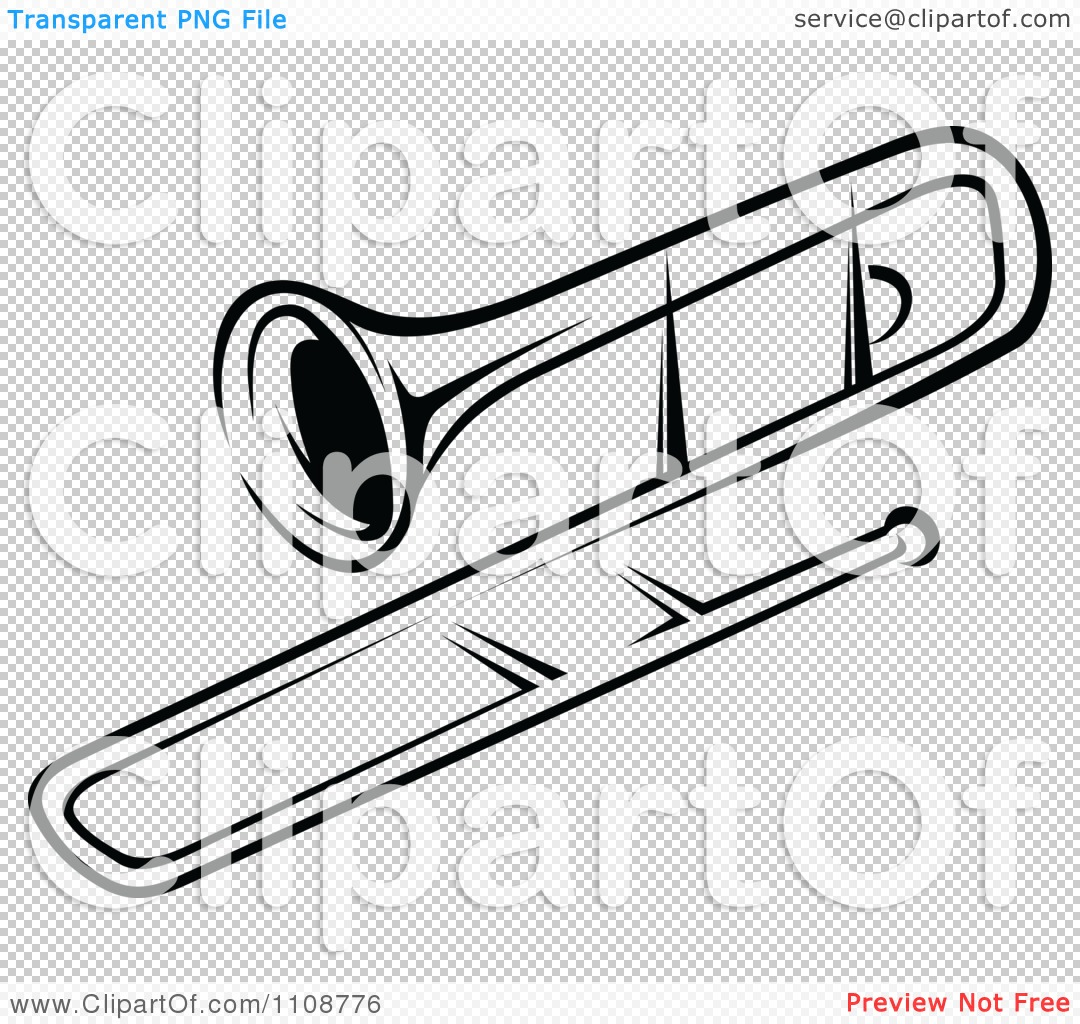 Clipart Black And White Trombone Musical Instrument   Royalty Free