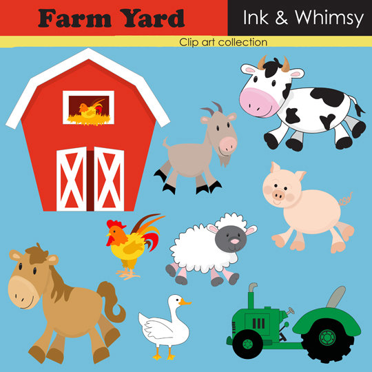 Clipart  Farm Instant Download Clip Art  Barn Yard Animal