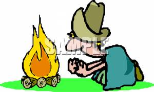 Clipart Image Of A Cowboy Under Blanket Warming His Hands On Clipart