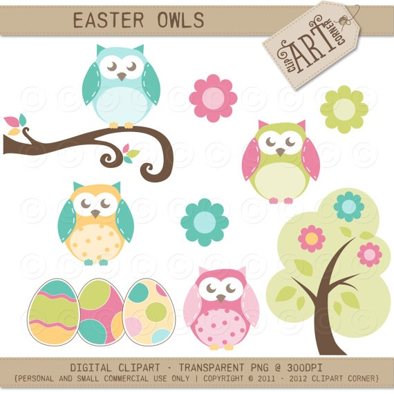 Digital Clipart Easter Owls Paper Crafts Card By Clipartcorner  3 50