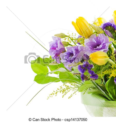 Fragment Of Colorful Bouquet Of Roses Tulips And Freesia Isolated On