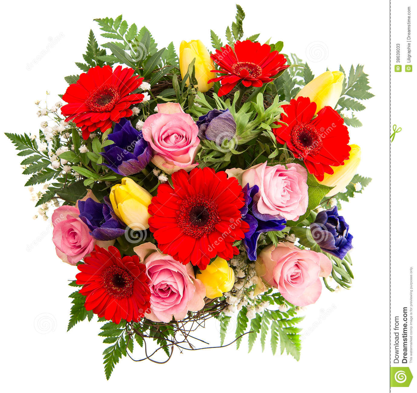 Fresh Colorful Spring Flowers Bouquet  Pink Roses Red Gerbera Yellow