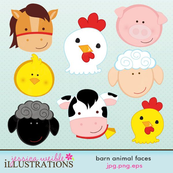 More Farm Clipart Barn Animal Facesanimal Scrapbook Animals Farm