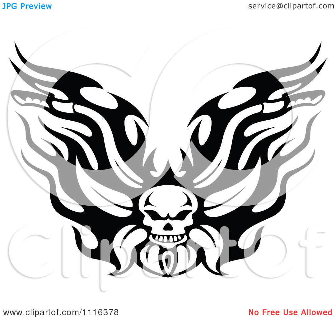 Motorcycle Clip Art Free Clipart Black And White Flaming Skull