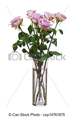 Picture Of Colorful Flower Bouquet From Roses In Glass Vase Isolated