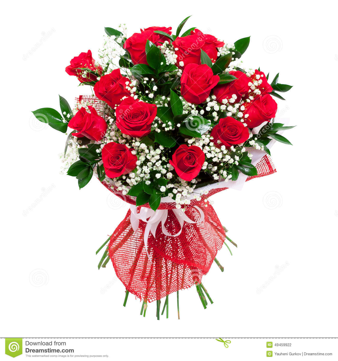 Red Roses Bouquet  Colorful And Bright  Isolated On White Background