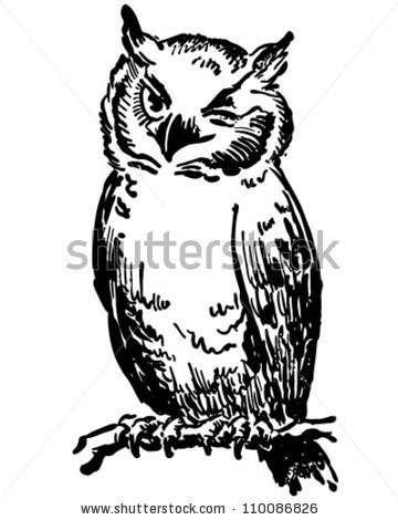 Winking Owl   Retro Clipart Illustration By Retroclipart Via
