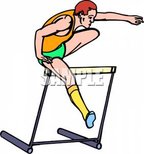 Athlete Jumping Over Hurdles   Royalty Free Clipart Picture