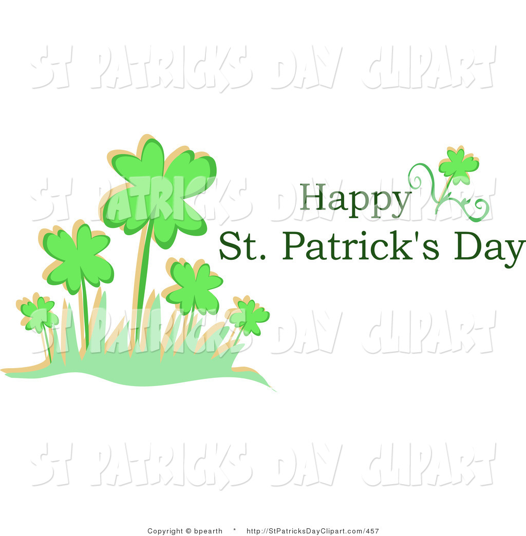 Clip Art Of A Happy Saint Patrick S Day Greeting With A Patch Of