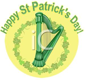 Happy St  Patrick S Day Sign With A Harp   Royalty Free Clipart