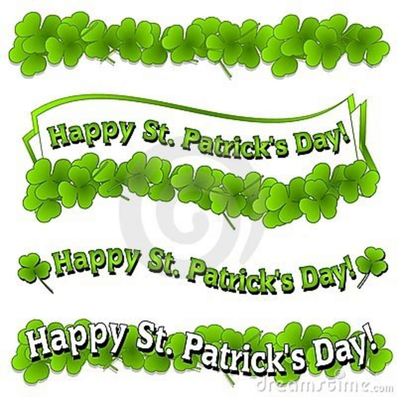 Of St  Patrick S Day Logos And Banners With Bright Green Clovers