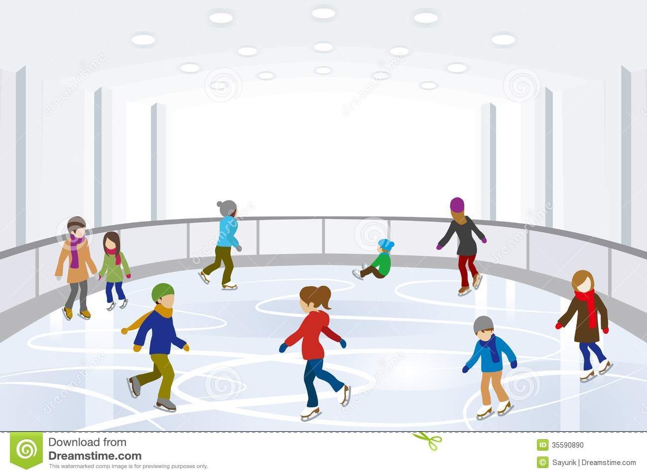 People Ice Skating In Indoor Ice Rink Stock Photo   Image  35590890