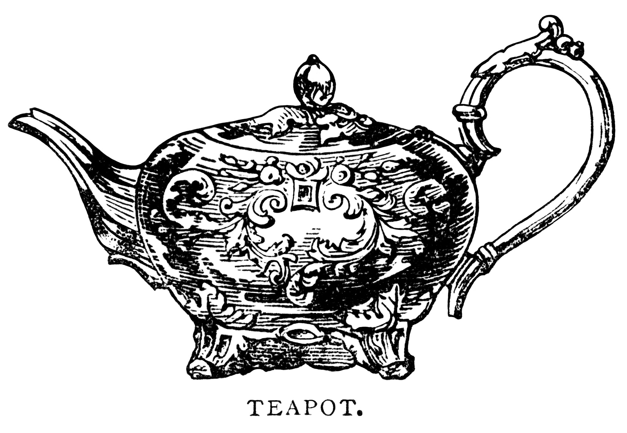 Teapot Black White Clipart Clipart Suggest