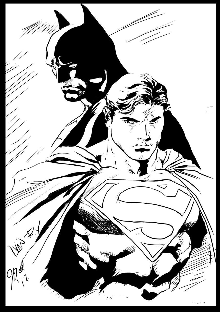 Супермен против бэтмена нарисовать
