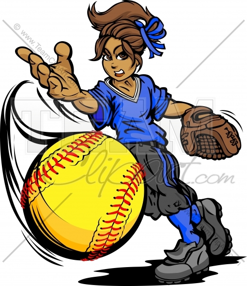 Fastpitch Softball Girl Pitching Fast Pitch Softball Vector Image