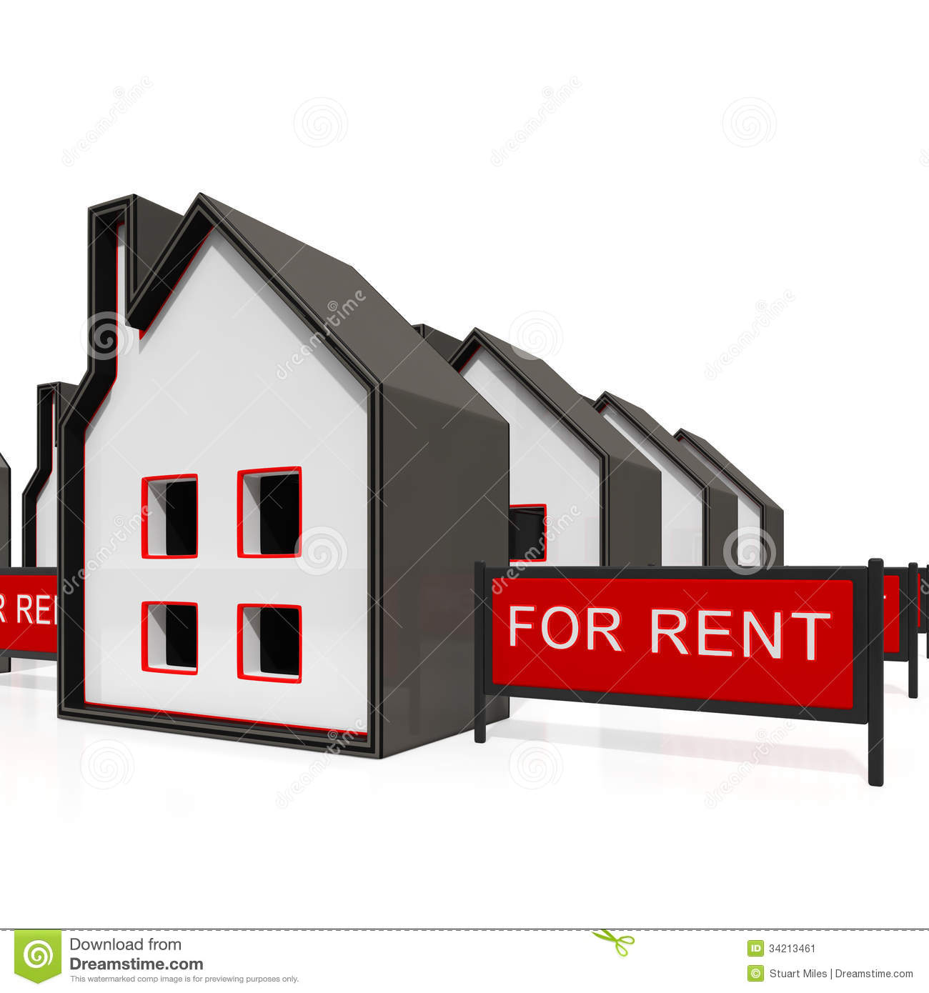 House For Rent Sign Shows Rental Stock Image   Image  34213461