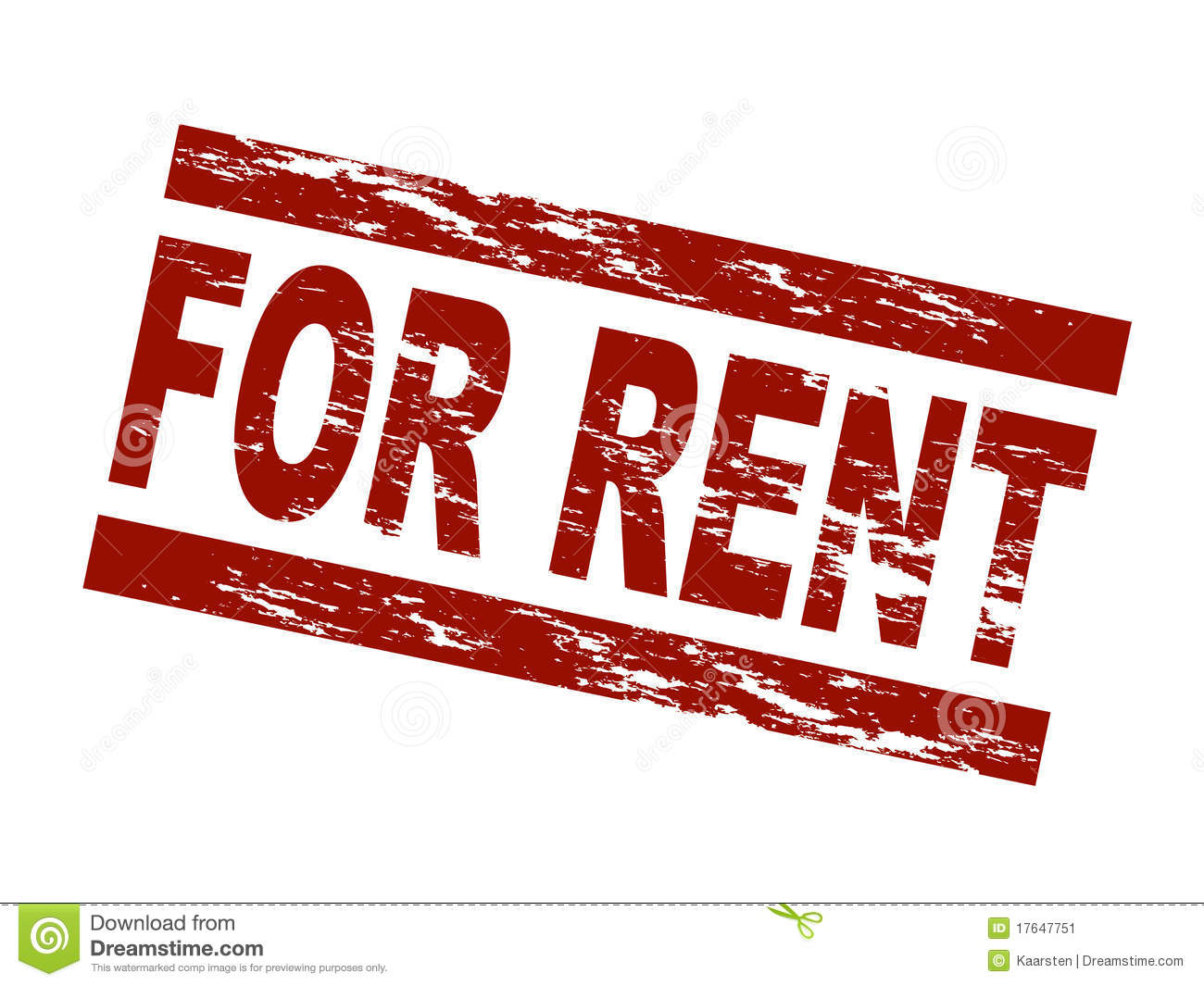 Stylized Red Stamp Showing The Term For Rent  All On White Background
