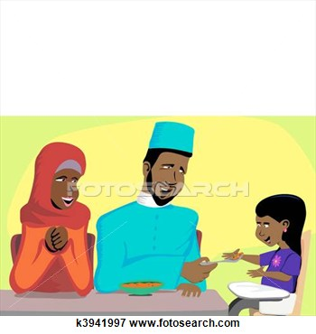 Clip Art Of Muslim Family Snack Time K3941997   Search Clipart