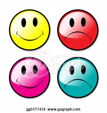 Happy And Sad Face Clip Art A Set Of Happy And Unhappy Smiley Face