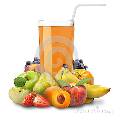 Multivitamin Juice And Slices Of Orange Isolated On White