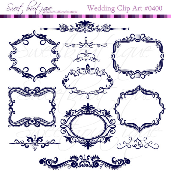 navy blue digital frames scrapbook border clipart ornate flourish