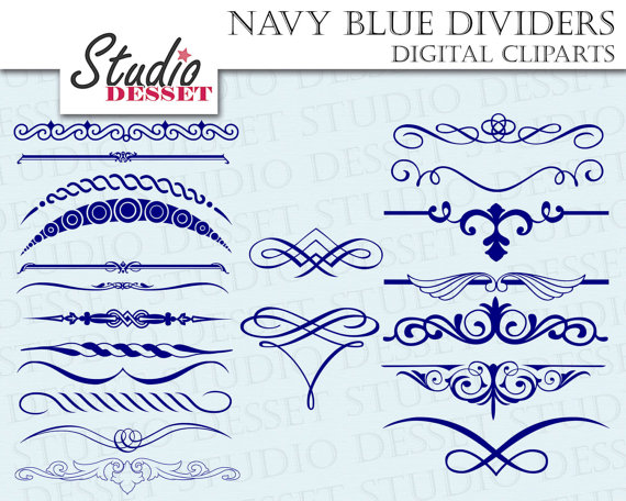 Navy Blue Dividers Wedding Invitations Calligraphy Clipart Set