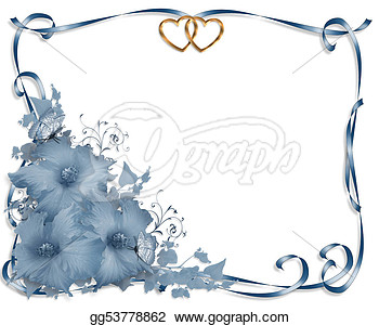 Wedding Invitation Stationery Page Background Or Border Of Blue