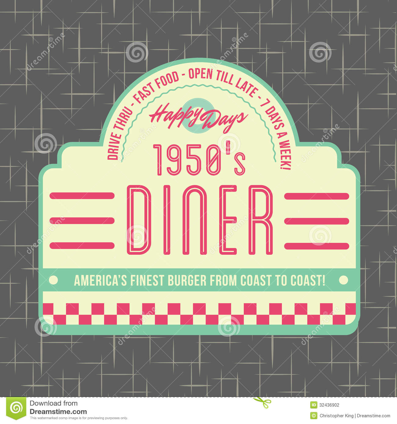 1950s Diner Style Logo Design   All Fonts Shown Are For Visual