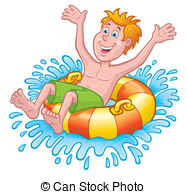 Boy On Inner Tube Splashing   Cartoon Illustration Of A Boy