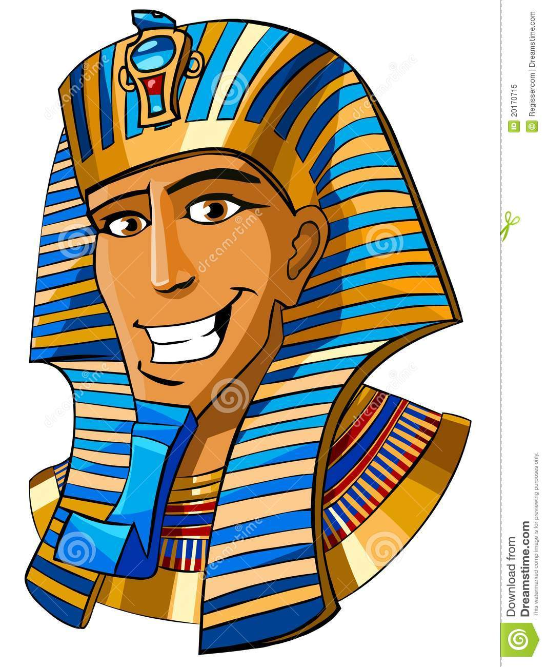 Cartoon Smiling Face Of Egyptian Pharaoh On A White Background