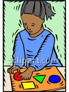 Child Playing With Wooden Shapes Puzzle   Royalty Free Clipart Picture